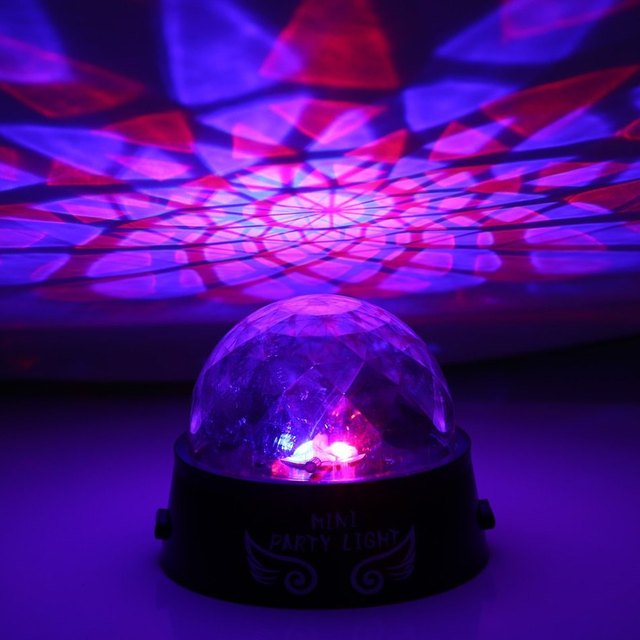 Mini Black Base Transparent Hemisphere LED Party Light Rotating Stage Effect Lamp Powered By AA Dry