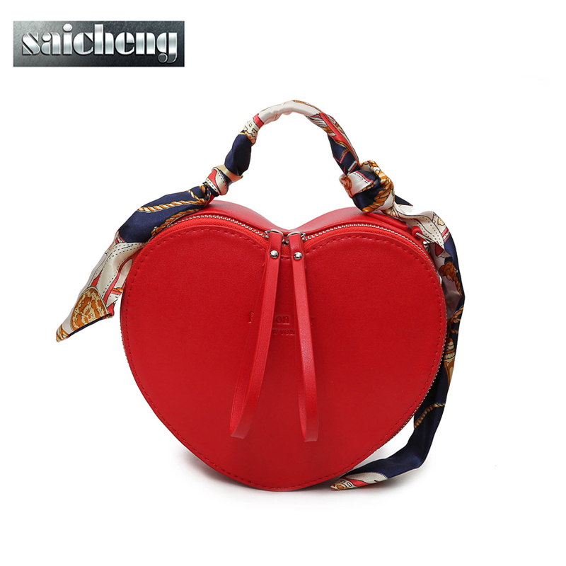 2017 New Arrival Peach Heart Women Handbag Fashion Scarves Pu Leather Messenger