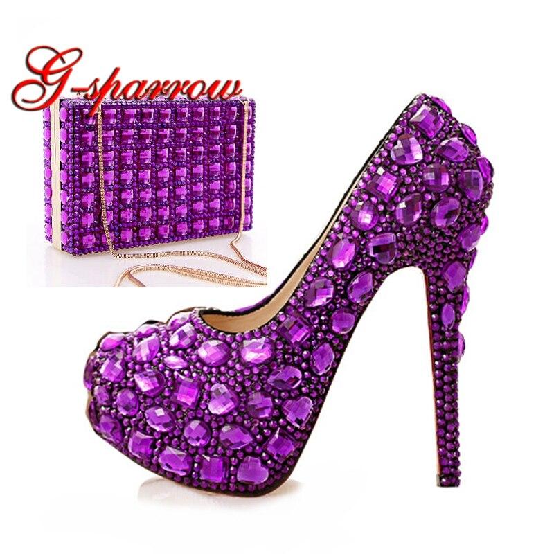 2018 фиолетовые свадебные туфли с украшением в виде кристаллов и клатчем; женские Вечерние туфли на высоком каблуке 14 см с подходящей сумкой;
