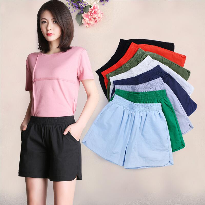 Summer New 2018 Fashion Autumn Solid Cotton Linen Loose   Shorts   Comfortable Casual   Shorts   Big Size M-6XL 7XL Hot   Shorts   Women Red