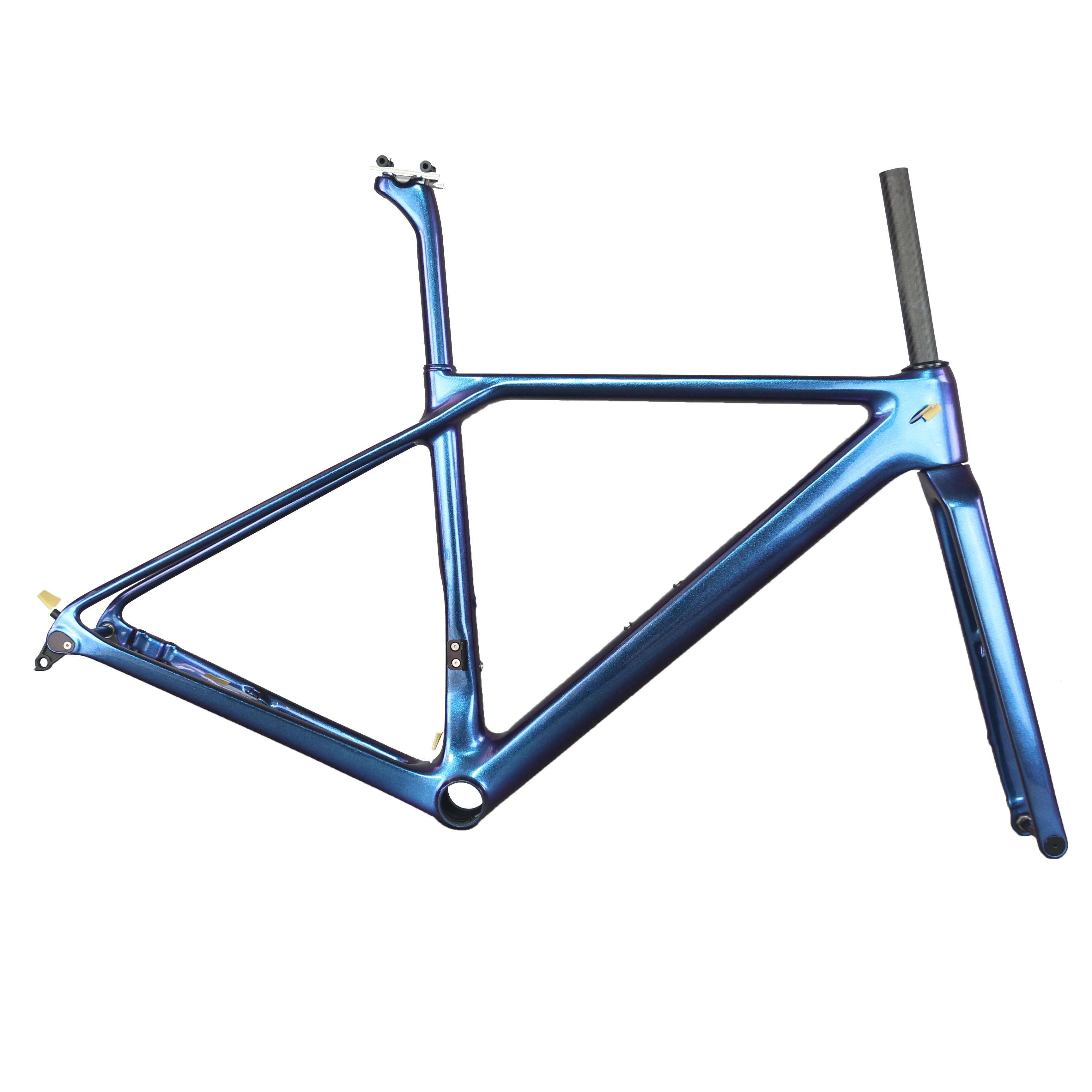 2019  Chameleon Paint Toray  T1000 Carbon Fiber  Flat Mount Disc Brake All Internal Cable  Road Bike Frame FM009