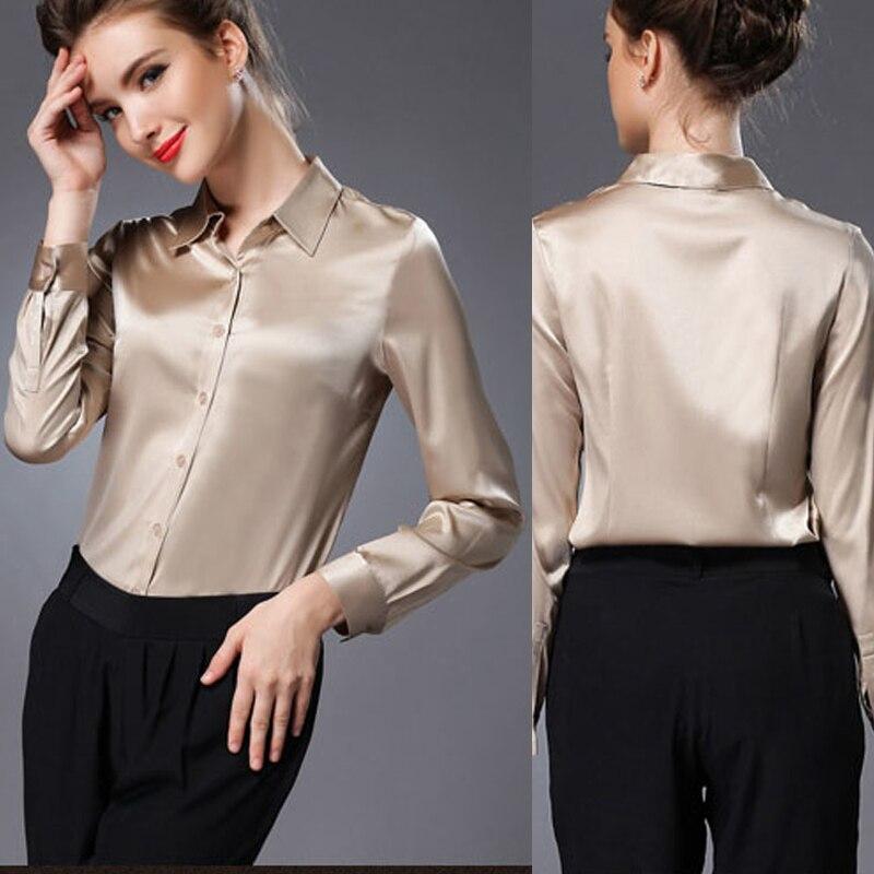 M-XL women high quality satin silk blouse button ladies silk satin blouses White Black Gold Red long sleeve satin blouse silk