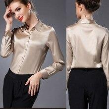 S-3XL frauen hohe qualität satin seide bluse taste damen silk satin blusen  Weiß Schwarz 3e9f8f5680