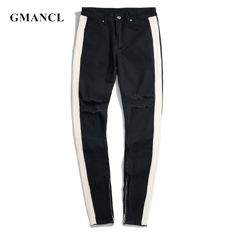GMANCL Men Knee Holes Ripped hip hop skinny   Jeans   Men White strip Destroyed Ankle zipper High street Joggers Denim Trousers