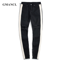 GMANCL Men Knee Holes Ripped hip hop skinny Jeans Men White strip Destroyed Ankle zipper High street Joggers Denim Trousers
