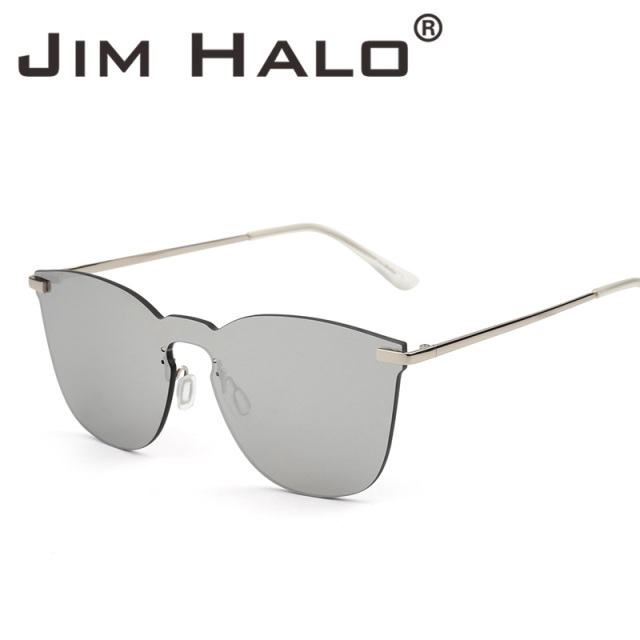 ebf5cc7ceb9 Jim Halo Rimless Mirrored Square Integrated Sunglasses One Piece Sun Glasses  Cheap Metal Flat Eyeglasses Men