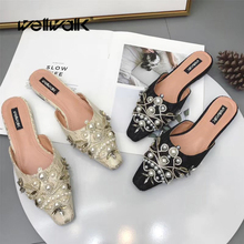 цена на Wellwalk Rich Pearl Mules Shoes Women Summer Slip On String Bead Slippers Pointed Toe Ladies Rhinestone Pearl Slides Female