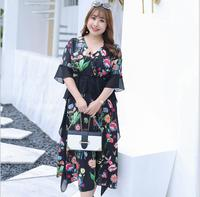 Women's summer v neck black color print chiffon dress lady's ruffles dress plus size dress XL~4XL TB200