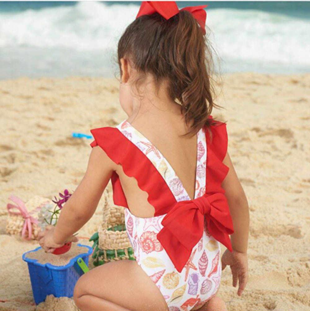 الرضع الاطفال طفل الفتيات المايوه الطباعة Bowknot عارية الذراعين ملابس السباحة الاستحمام دعوى الاطفال أزياء 2019 طفل فتاة ملابس الصيف