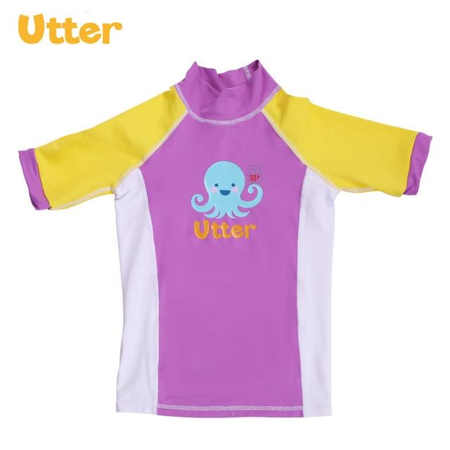 54c8706e524e9 UTTER Baby Kids Summer Cartoon Printing Sun Protection Swimwear Short  Sleeve T-shirt for Girl Swimwear Beach Clothing
