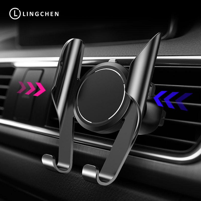 LINGCHEN Universal Car Phone Holder For Phone In Car Air Vent Mount Stand Mobile Phone Holder Gravity Bracket Smartphone