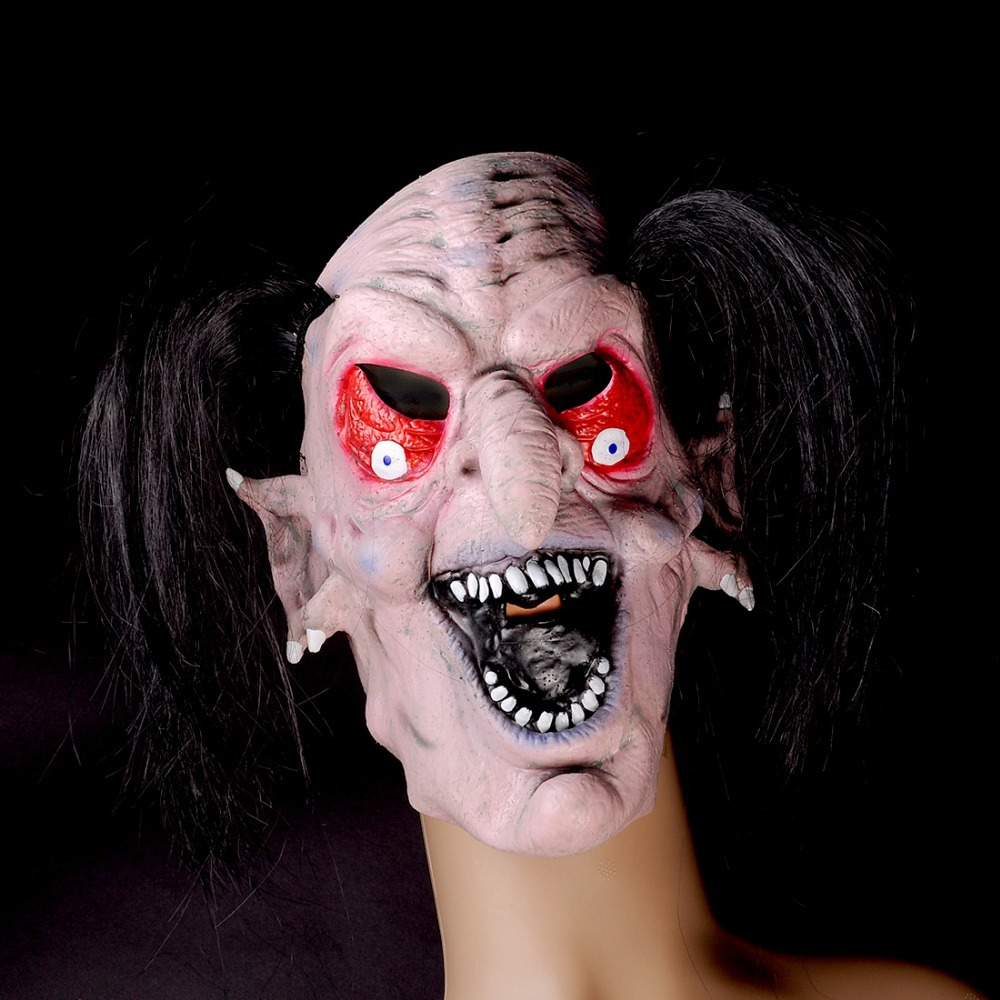 Red Eye,Black Hair Witch Mask Prank Props Scary Halloween House of ...