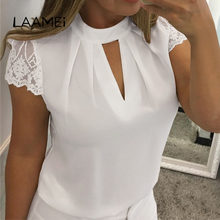 Laamei Lace Blouses Women 2019 Hollow Out Sexy Tops Femme Solid Casual Office Shirts Plus Size 5xl Blousas V Neck Streetwear(China)