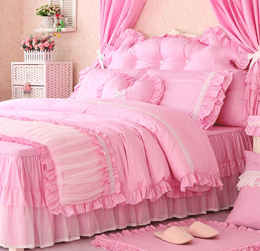 Romantic cute bedding sets teenage girl twin full queen king cotton single double bedclothes - Cute teenage girl bedding sets ...