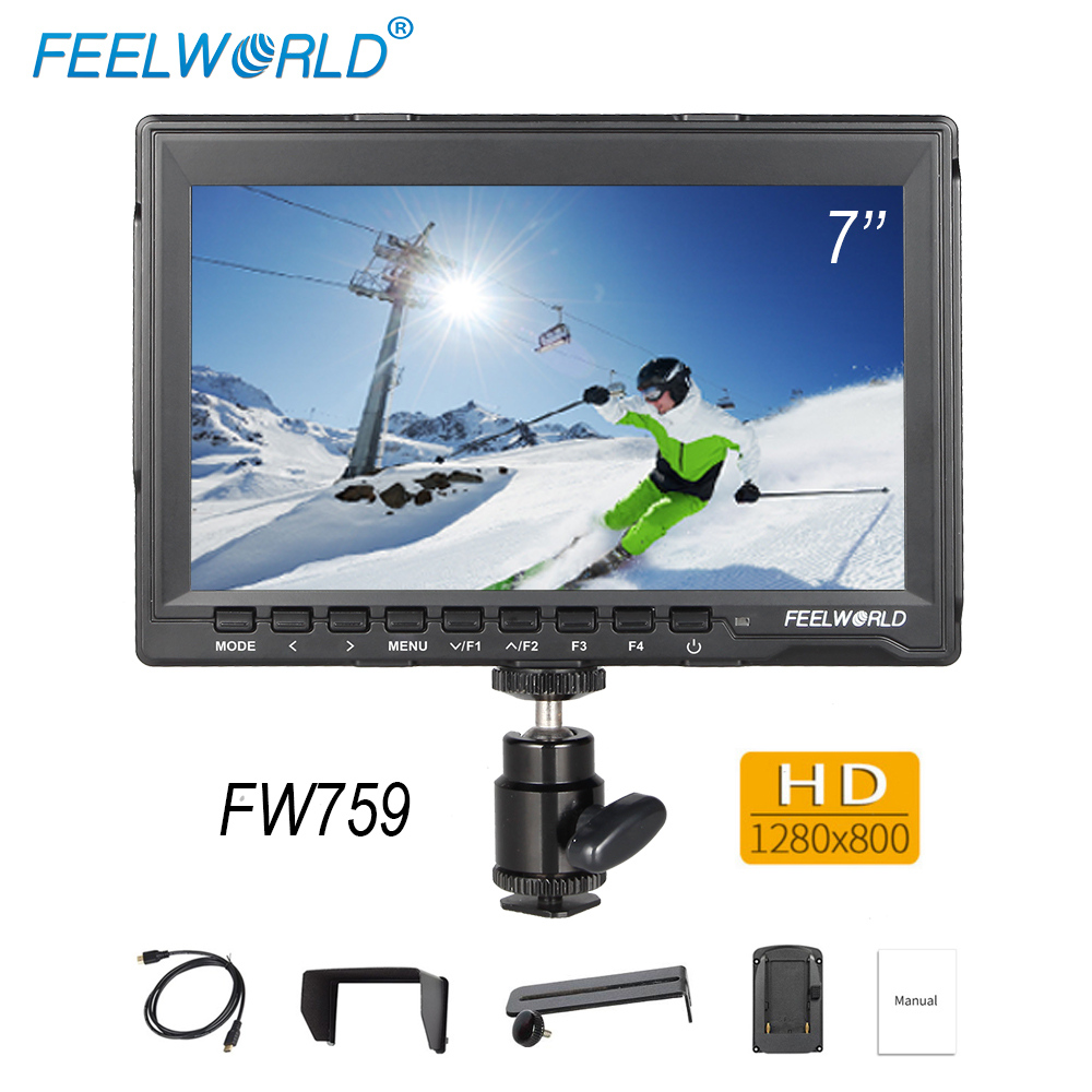 Feelworld FW759 DSLR Camera Field Monitor Full HD Video Assist 7 inch Slim 1280x800 IPS 1080p HDMI AV for BMPCC Canon Sony Nikon пеленка впитывающая одноразовая медмил 30 для животных 60 х 60 см