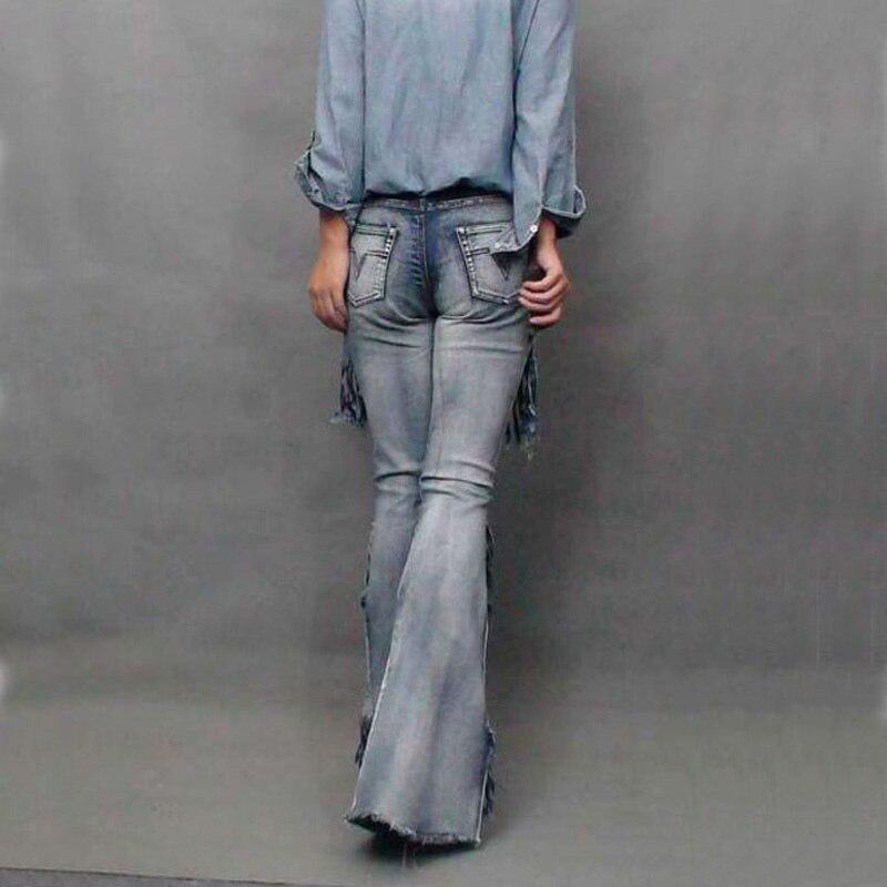 Mode Casua Vintage Lautsprecher Quaste Maxi Motorrad Weibliche Jeans modis Hosen für Frauen//Denim Hose//flare hosen
