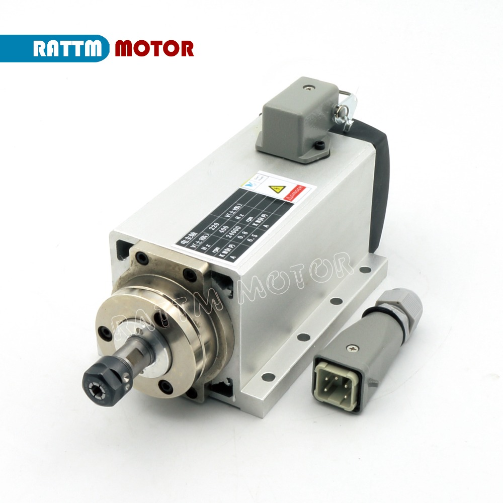 EU Delivery! Square 0.8KW Air-cooled Spindle motor ER11 24000rpm 400Hz ENGRAVING MILLING GRIND 6.5A цена