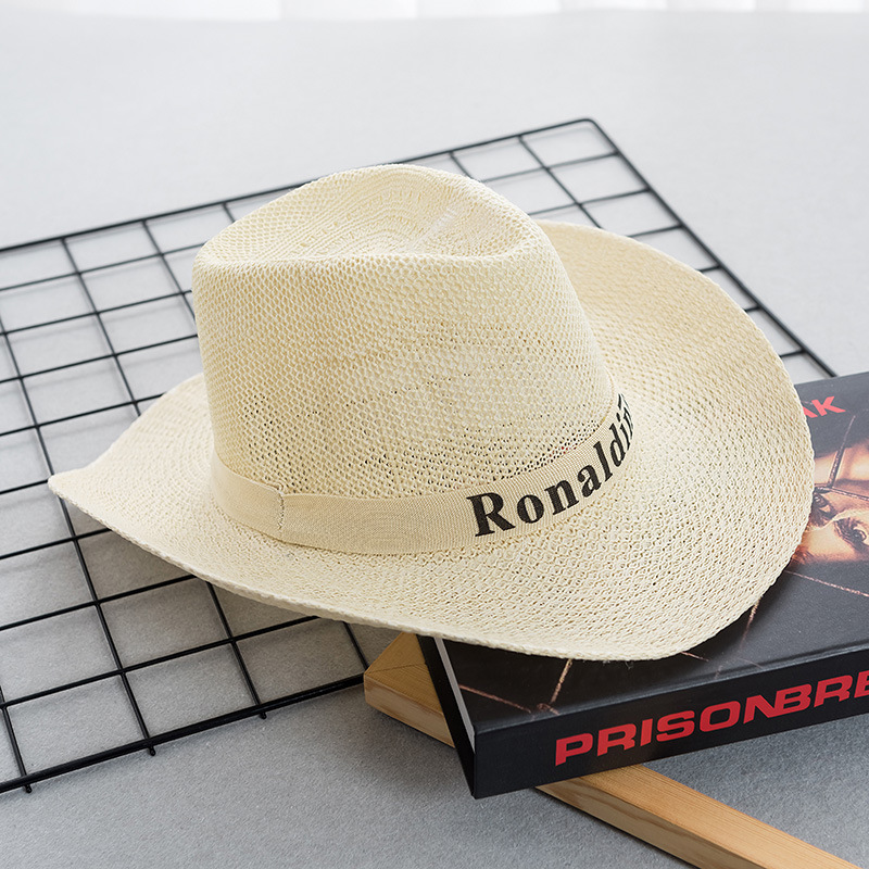 Summer Cowboy Hat Sun Visor Foldable Men's Letter Straw Hat Beach Sun Hat Wide Side Simple Casual Men's Outdoor Big Straw Hat