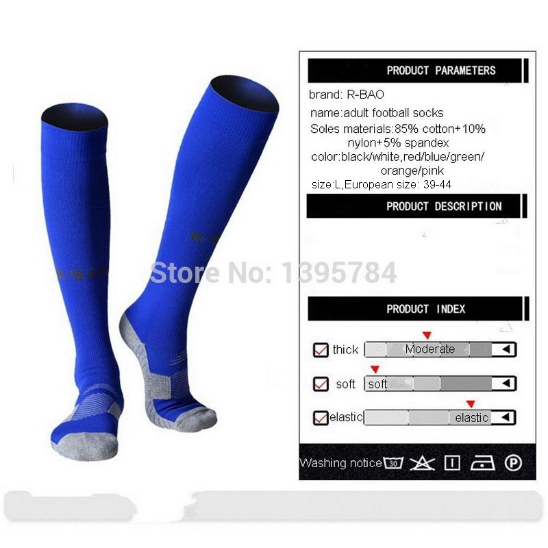 Image 4 - R BAO 1 Pair Cotton Long Soccer Socks Non slip Sport Football Ankle Leg Shin Guard Compression Protector For Men 39 44