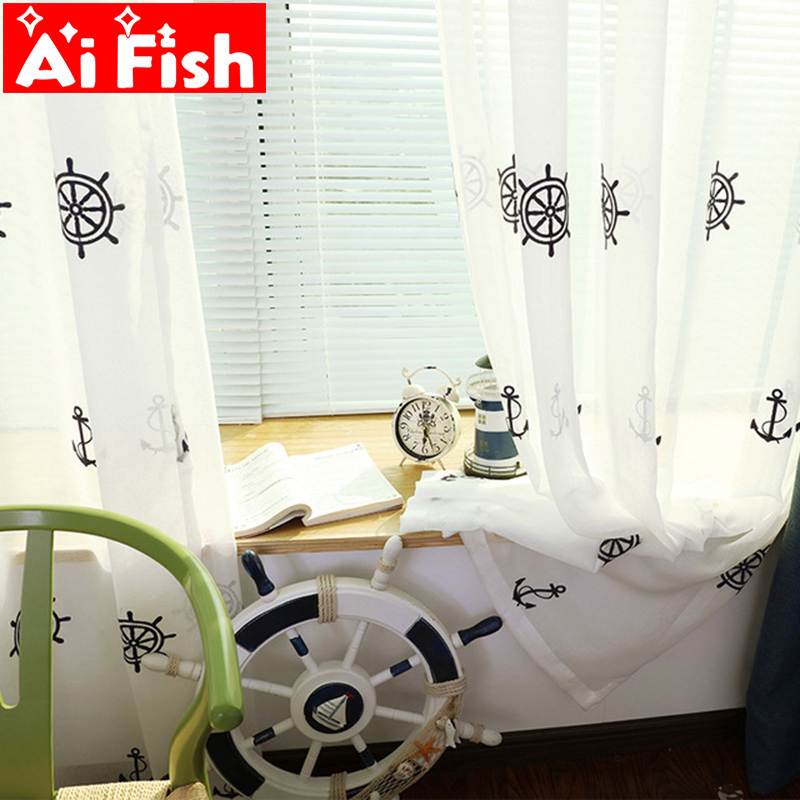 American Mediterranean Children's Bedroom Curtains Sheer Drapes Pirate Ship Cartoon Embroidered Boys Girl Curtains Tulle M101#30