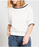 High end loose silk T shirt female short sleeves white color 2018 summer new women's clothes mulberry silk short