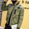 2016 Hot sale Winter new men 's fashion casual thickening jacket personalized simple embroidery simple color men' s large cotton