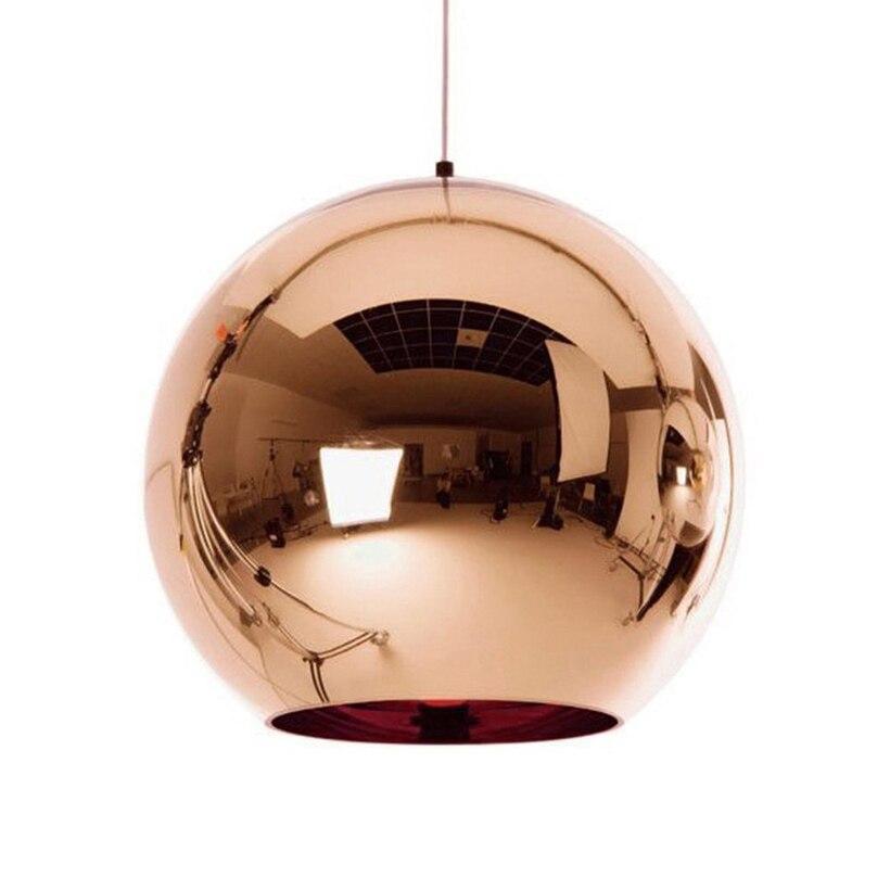 Işıklar ve Aydınlatma'ten Kolye ışıkları'de Bakır cam küre sarkıt aydınlatma küre parlaklık kolye ışıkları ayna asılı lamba mutfak ev dekor sanayi lamba armatür title=