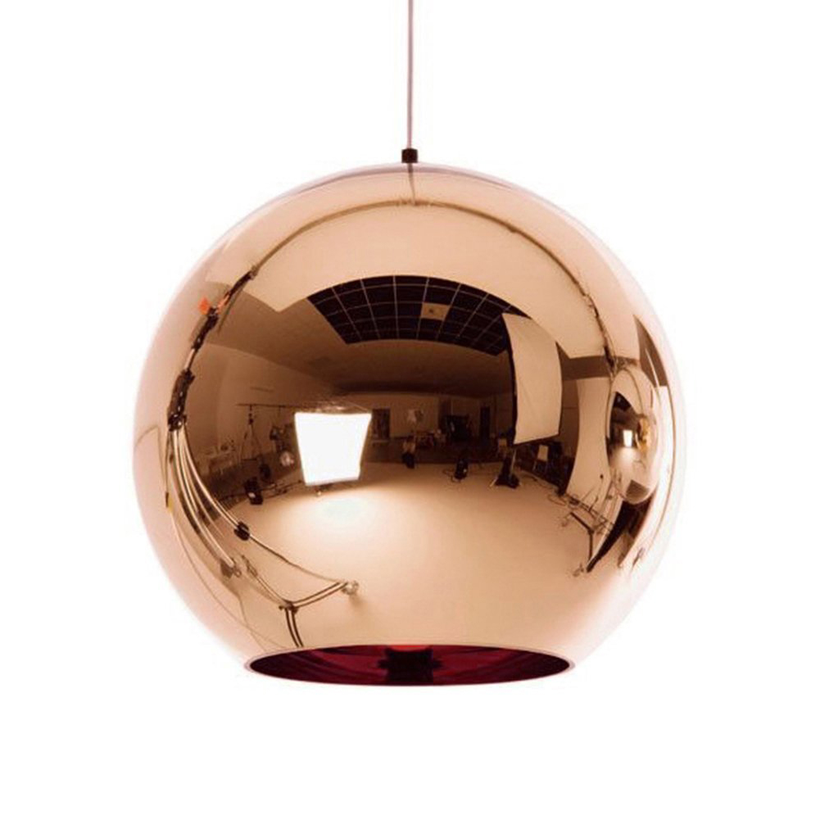 Copper Glass Ball Pendant Lighting Globe Lustre Pendant Lights Mirror Hanging Lamp Kitchen Home Decor  Industrial Lamp Luminaire