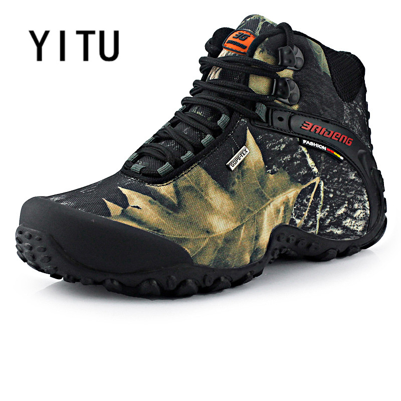 YITU Outdoor Waterproof Canvas Hiking Shoes Anti-skid Fishing Boots Breathable Sports Men Shoes Camping Climbing Sneakers