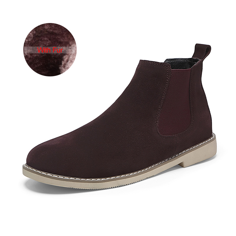 3689f5f6e643c Fashion Chelsea Boot Men Suede Hombre Martin Boots Flat Heel Suede Leather  Ankle Boots Vintage Sewing Thread Britain Botas-in Chelsea Boots from Shoes  on ...
