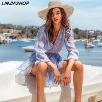 Linjiashop Elegant holiday summer dress women Silk blue print sashes lining v neck puff sleeve high waist beach mini dress