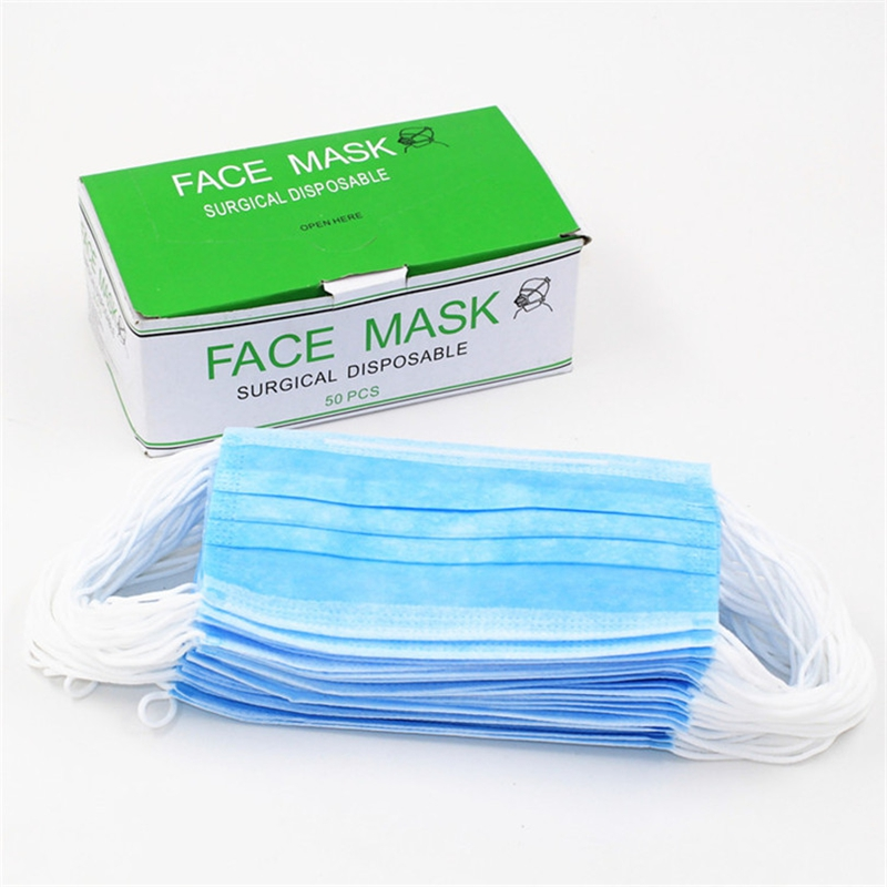 50pcs Box Blue Disposable Medical Dustproof Surgical Face