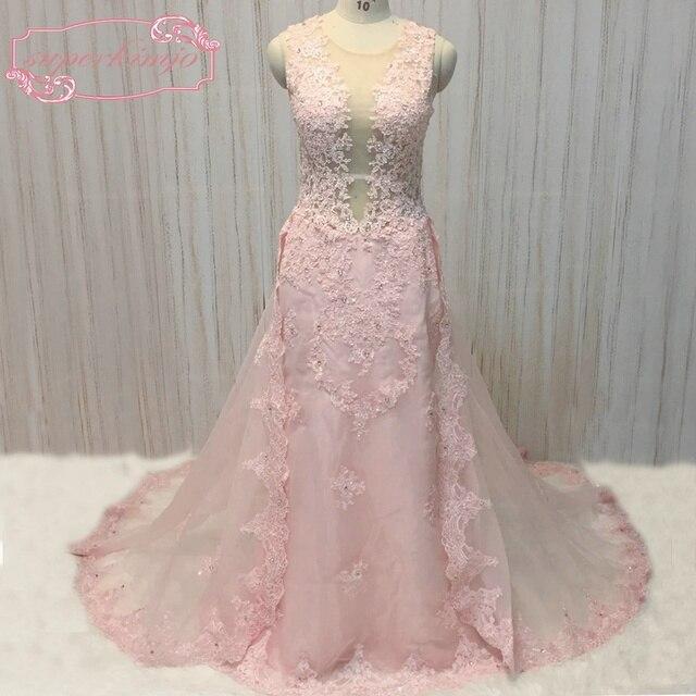 SuperKimJo Robe De Noche Dentelle Applique Rose Robes De Soirée 2018 Perlée  Élégante Dos Nu Arabe b675bbab38d