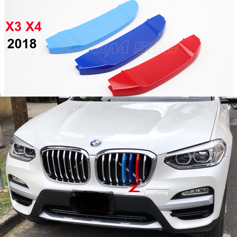 For 2018 All New BMW X3 G01 X4 G02 3D M motorsport stripe Front Grille Trim Strips Decoration Grill Cover clips Stickers недорого