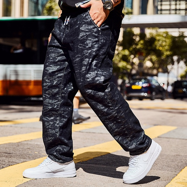 New autumn jeans black camouflage straight  big size trousers  men plus size jeans 46 44 42