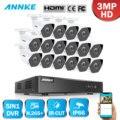 ANNKE FHD 16CH 5in1 3MP CCTV System 16 stücke 3MP Sicherheit Kugel Wetterfeste Kamera Smart IR Outdoor 3MP Video Überwachung kit