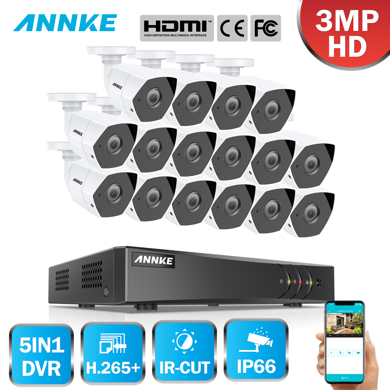 ANNKE FHD 16CH 5in1 3MP CCTV System 16pcs 3MP Security Bullet Weatherproof Camera Smart IR Outdoor 3MP Video Surveillance Kit