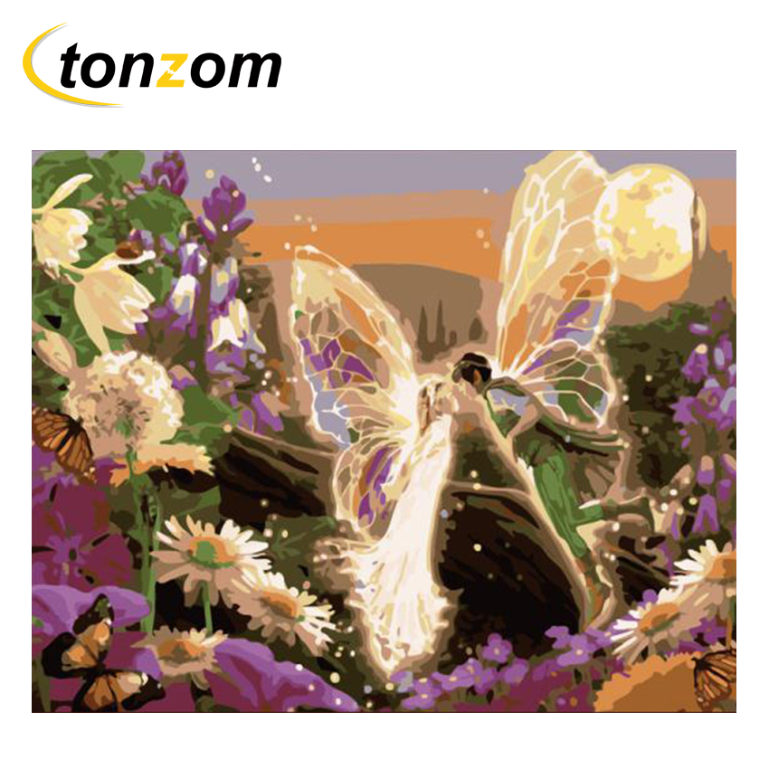 RIHE Lovers With Wings Diy Painting By Numbers Abstract Flowering Shrub Oil On Canvas Cuadros Decoracion Acrylic Wall