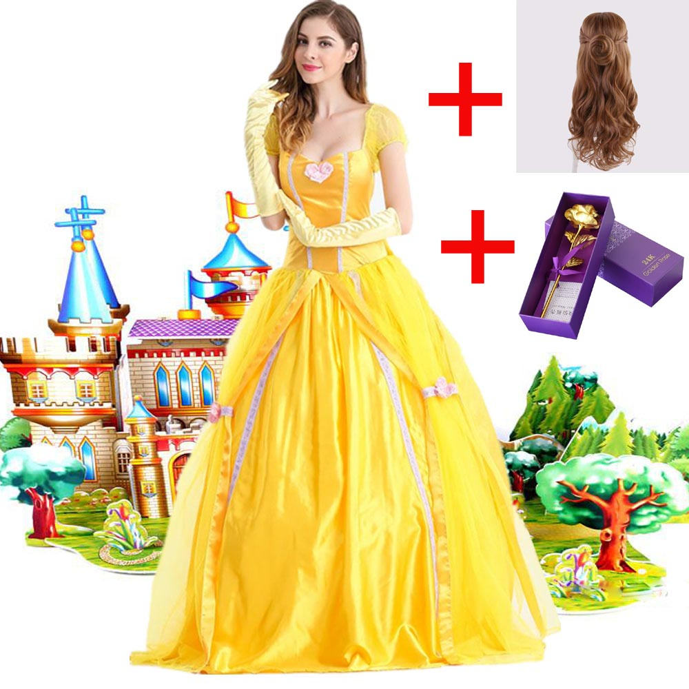 Movie Princess Belle Beauty And The Beast Rose Fancy Dress Cosplay Costume Adult Halloween Costumes For Women Bell Dress Wigs