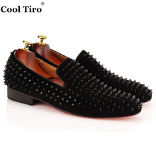 COOL TIRO loafers Top Quality Red bottom men Shoes Fashion Black suede Spikes Loafers Rivets Casual Dress Shoes Flats Black