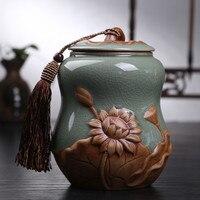 Hot Sale Big Top Grade Crackle Glaze Longquan Celadon Ceramics Capacity Eco Friendly Tea Caddy Tea