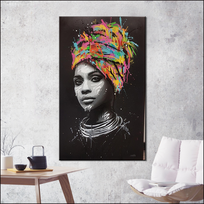 African Woman Portrait Poster Wall Art Canvas Painting ...