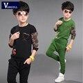 2016 новая коллекция весна и осень одежда мальчик спортивный костюм большой мальчик два комплекта детской одежды