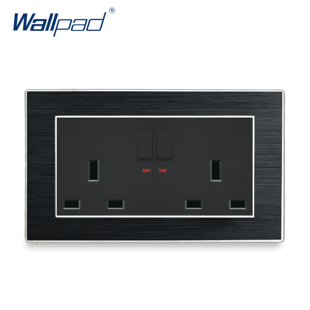 2 Gang 6 Pin 13A UK Socket With Switch Wallpad Luxury Satin Metal Panel 146 Switched Wall Power Outlet with LED Indicator2 Gang 6 Pin 13A UK Socket With Switch Wallpad Luxury Satin Metal Panel 146 Switched Wall Power Outlet with LED Indicator