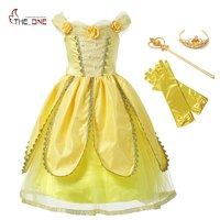 MUABABY Girls Princess Belle Dress Kids Flowers Yellow Party Cosplay Costume Children Girl Carnival Dress Up