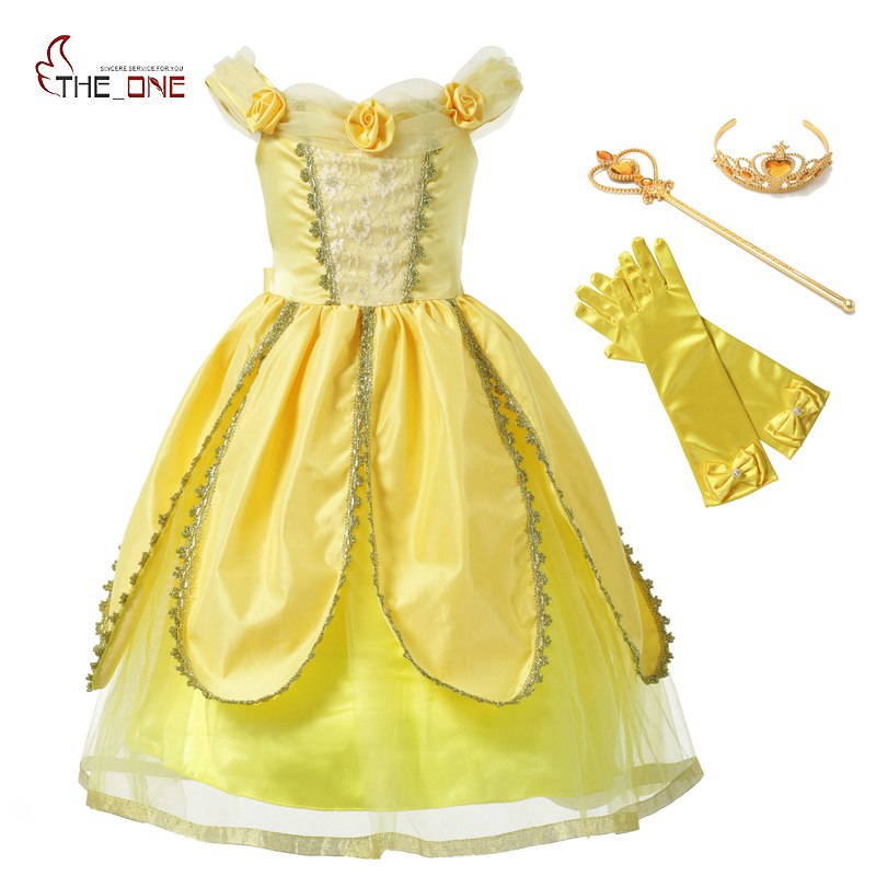 MUABABY Girls Belle Dress Kids Flowers Yellow Party Princess Costume Halloween Kids Cosplay Dress up Ball Petal Carnival Fantasy muababy girls cinderella princess costume 4 colors kids belle halloween birthday pageant cosplay party dresses with 10 butterfly