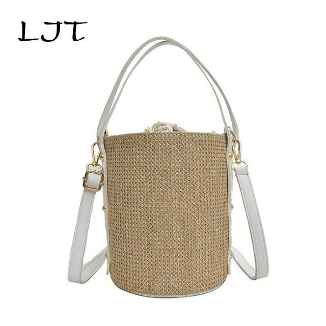 LJT 2019 New Wave Fashion Drawstring Women's Straw Bucket Bag Summer Woven Shoulder Bags Shopping Purse Beach Bag Handbag Tote