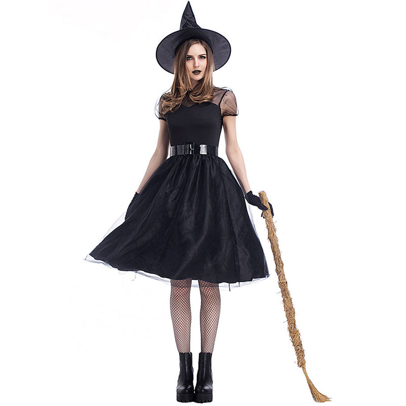 <font><b>Halloween</b></font> <font><b>Sexy</b></font> Witch Costumes Adult Women Queen Carnival Party Scary Fancy <font><b>Dress</b></font> Mesh Belted Gloves Witch <font><b>Dress</b></font> Black image