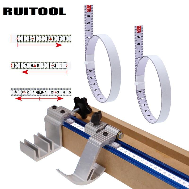 Gehrung Track Maßband Selbstklebende Metric Stahl Lineal Gehrung Sah Skala Für T-track Router Tisch Sah Band kreissäge Werkzeug