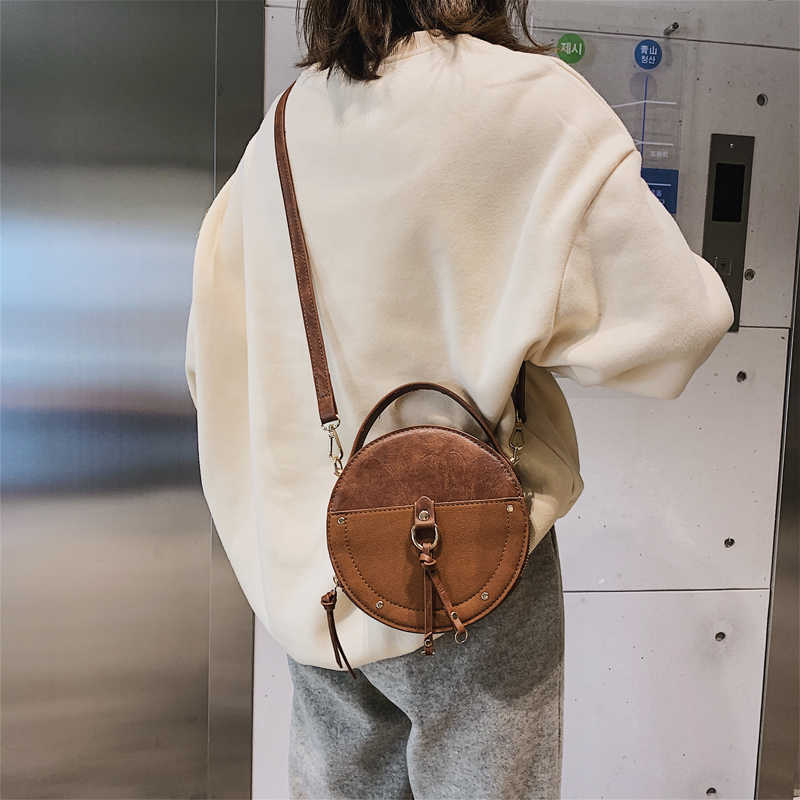 Matagal do vintage Rodada De Couro Designer Saco Crossbody Para As Mulheres 2019 de Couro PU Sacos de Ombro Das Senhoras Pequenas Bolsas de Mini Sacola
